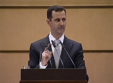 President Bashar Assad delivering his address in Damascus today.