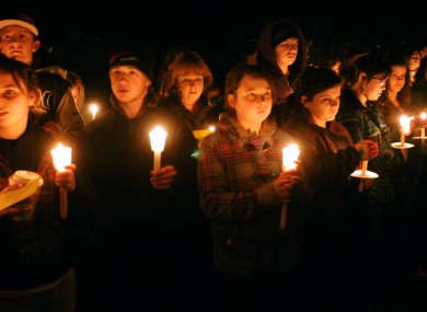In this Jan. 15, 2010 photo, a candlelight vigil is held at South Hadley, Mass., High School for freshman Phoebe Prince, 15.