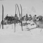 The final expedition of Bowers' sledge team at Beadmore Glacier in December 1911. (Courtesy of Scott Polar Research Institute, University of Cambridge)