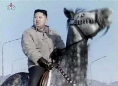 North Korea's new leader Kim Jong Un rides a horse