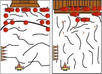 PizzaBot Season(ing)s asks the player to help a slice of pizza fight off the invasion of the wicked cranberries.