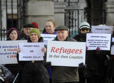 Some residents of Priory Hall protesting outside the Dáil in December.