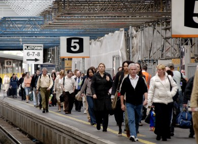 Rail travellers at Dublin's Heuston Station