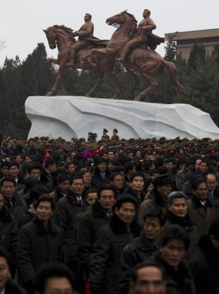A statue built in honour of Kim Jong Il, depicting him and his father Kim Il Sung