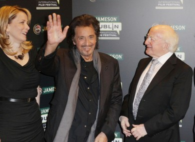 Al Pacino with Irish President Michael D Higgins and Anna Malmhake, chair and CEO of Irish Distillers ahead of this evening's screening at the Savoy Cinema.