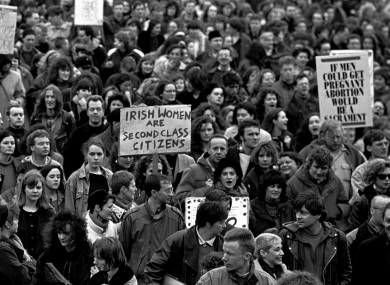 7eb97a3780ef5 People call for more information about abortion during a demonstration in  February 1992.
