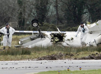The wreckage of the Manx2 plane in February, 2011.