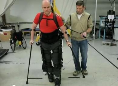 Mark Pollock using bionic 'legs' in Berkeley, California this week
