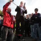 TD Joe Higgins addresses crowds outside the National Staduim in Dublin. (Leon Farrell/Photocall Ireland)