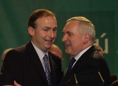 Bertie Ahern embraces Micheal Martin after the former's speech at the Fianna Fáil Árd Fheis in 2003.