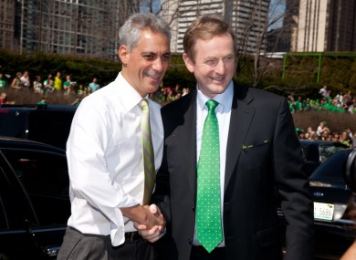 Enda Kenny with Rahm Eamanuel, the mayor of Chicago, at the weekend.