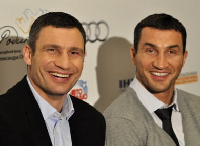 Vitali Klitschko, left, with his brother Wladimir at a Kiev news conference yesterday.