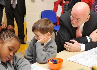 Ruairi Quinn faces an unappreciative audience at a primary school earlier this week