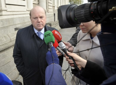 Michael Noonan speaks to the media before the Cabinet meeting this morning