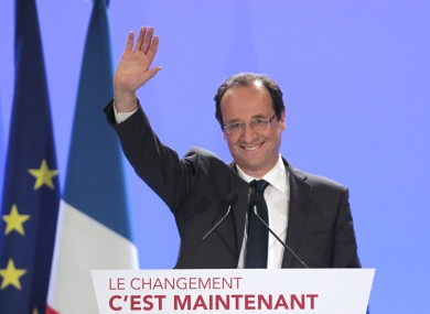 Hollande at a rally in Tulle, central France last night