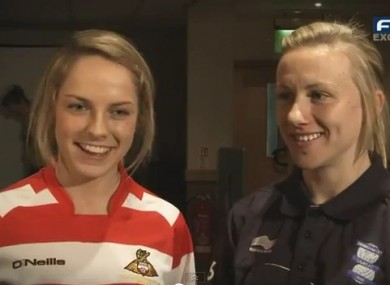 Ireland and Doncaster player Julie Ann Russell with Birmingham's Laura Bassett