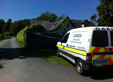 The scene outside the house in Thomastown earlier today