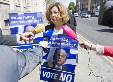Irish-Greek businesswoman Patricia Tsouros addresses the media, after buying 'out of touch' Michael Noonan a plane ticket to Athens