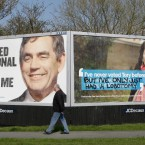 Grafitti which has been spray painted onto a Conservative Party poster on a roadside billboard in Ormskirk, Merseyside. (Dave Thompson/PA Wire)
