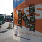 A poster supporting the EU fiscal treaty is defaced by anti-EU stickers  AP Photo/Shawn Pogatchnik