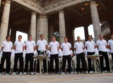 The Ireland squad stand for the National Anthem at the civic reception.