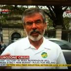 Sinn Féin president Gerry Adams speaks to Sky News this afternoon.   Image: Sky News