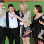 Sinn Fein president Gerry Adams, Pat Doherty, Toireasa Ferris and Mary Lou McDonald have an ice-cream break at the party's Ard Fheis at the INEC, Killarney on Saturday. Image: Laura Hutton/Photocall Ireland