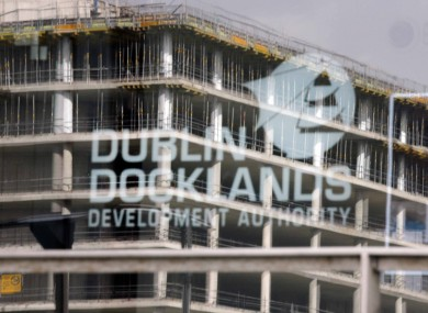 The half-built Anglo Irish Bank HQ, as seen through the offices of the soon-to-be-scrapped Dublin Docklands Development Authority.