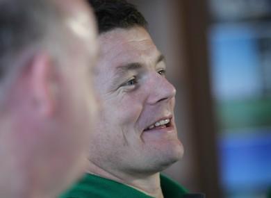 Brian O'Driscoll enjoys the Irish team announcement.