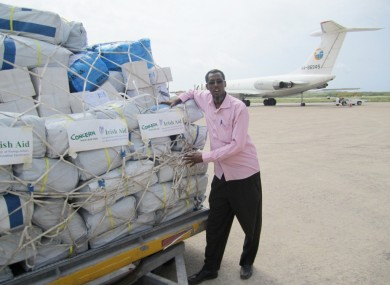 File photo: Emergency humanitarian supplies are unloaded in Mogadishu
