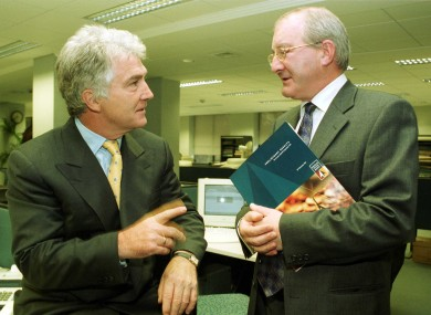 In happier times, reporting Anglo results in 1999 are Seán Fitzpatrick and Willie McAteer