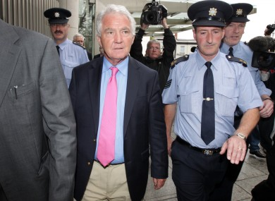Seán FitzPatrick leaving court in Dublin yesterday.