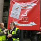 Greencore workers from Hull outside the Department of Agriculture in Dublin today. (Photo: Sam Boal/Photocall Ireland)