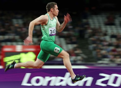 Ireland's Jason Smyth on his way to setting a new world record of 10.54 seconds.