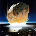 """Our current level of technology is simply nowhere near sufficient to protect Earth from such an asteroid by this specific means of asteroid defence."" - Researchers at the University of Leicester, England, don't rate our chances of surviving a major asteroid collision by using the Hollywood-favoured method of nuclear explosion. (Image: Artist's impression of an asteroid striking Earth; from NASA)"