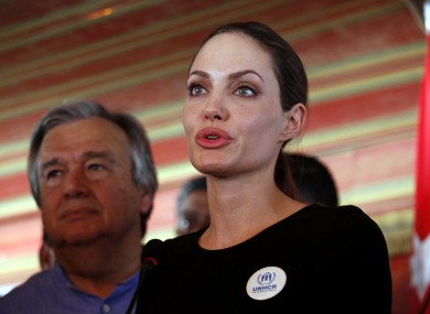 Angelina Jolie speaks to the press at the Zaatari Refugees Camp today