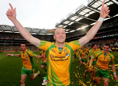 Colm McFadden celebrating after yesterday's game.