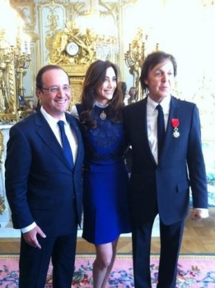 Macca with his wife Nancy and French president Francois Hollande earlier today