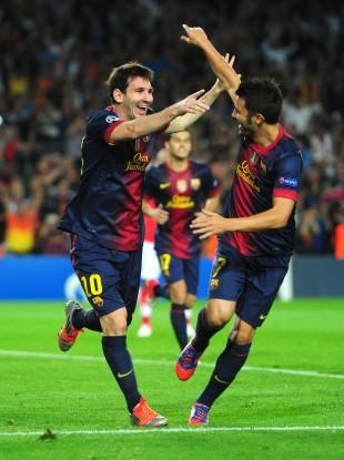 Leo Messi and David Villa last night.