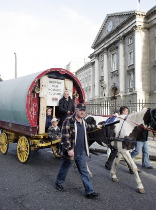 Travellers protest march to the Dail in 2009.