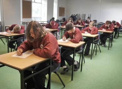 Students sitting their Junior Certificate exam