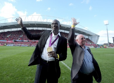 Brother Colm O'Connell and David Rudisha, world-record holder and winner of the 800m Gold medal at the London 2012 Olympics at Thomond Park yesterday.