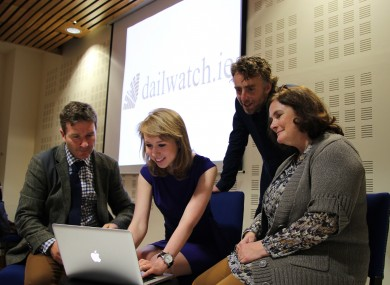 Harry McGee, Sarah O'Neill, Ruairí McKiernan and Dr Jane Suiter at today's launch.