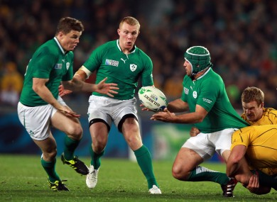 Brian O'Driscoll and Rory Best in action against Australia in 2011.