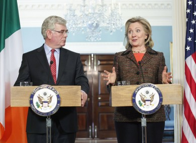 Hillary Clinton with Eamon Gilmore in Washington last year