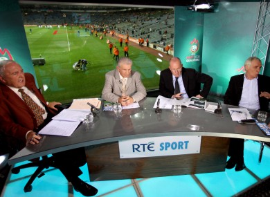 A view of the studio from L-R: Bill O'Herlihy, Johnny Giles, Liam Brady and Eamon Dunphy.