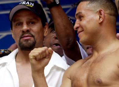Boxers Roberto Duran, left, and Hector Camacho in 2001.