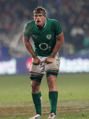 Jamie Heaslip takes a breather against the All Blacks.