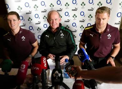 Ireland coach Declan Kidney flanked by Craig Gilroy (left) and Jamie Heaslip.