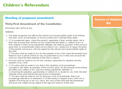 The new version of ChildrensReferendum.ie published this evening did not mention the proposed removal of Article 42(5) from the Constitution.